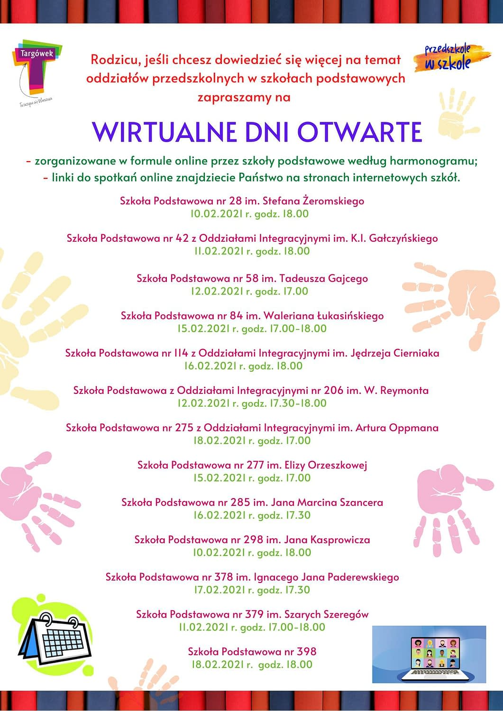 Wirtualne Dni Otwarte - harmonogram