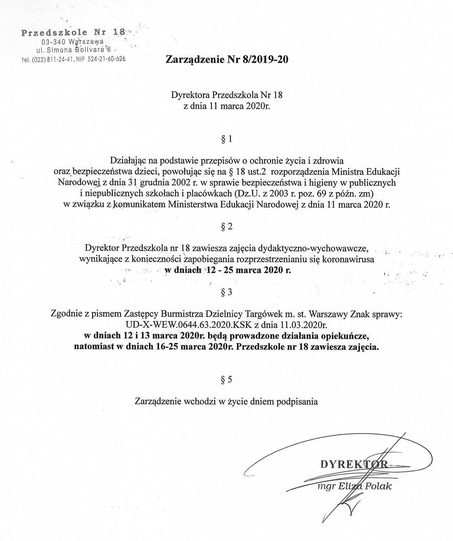 Zarządzenie Dyrektora P18